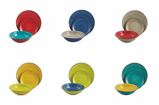Villa D'Este Bi Baita Service De 18 Assiettes En Grès Multicolore