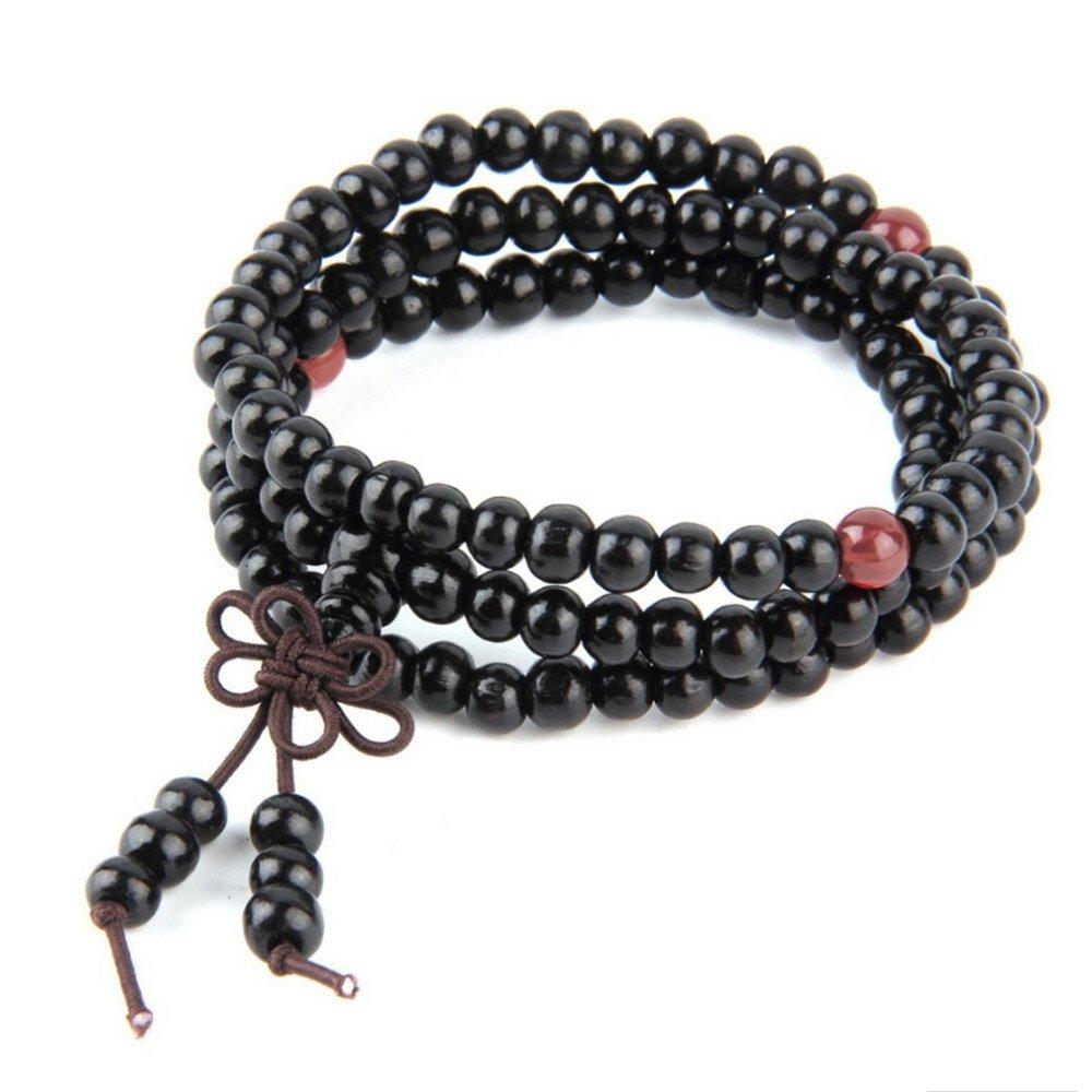 Vintage Wooden 108 Bead Bracelet by MayaBracelets (Pure Black Knot)