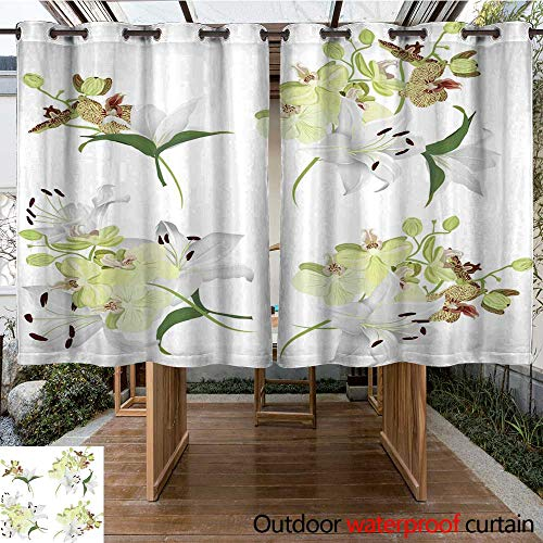 RenteriaDecor 0utdoor Curtains for Patio Waterproof Lilies and Tiger Orchids Bouquet Vector Design Elements W108 x L72 (Drapes Lily Tiger)
