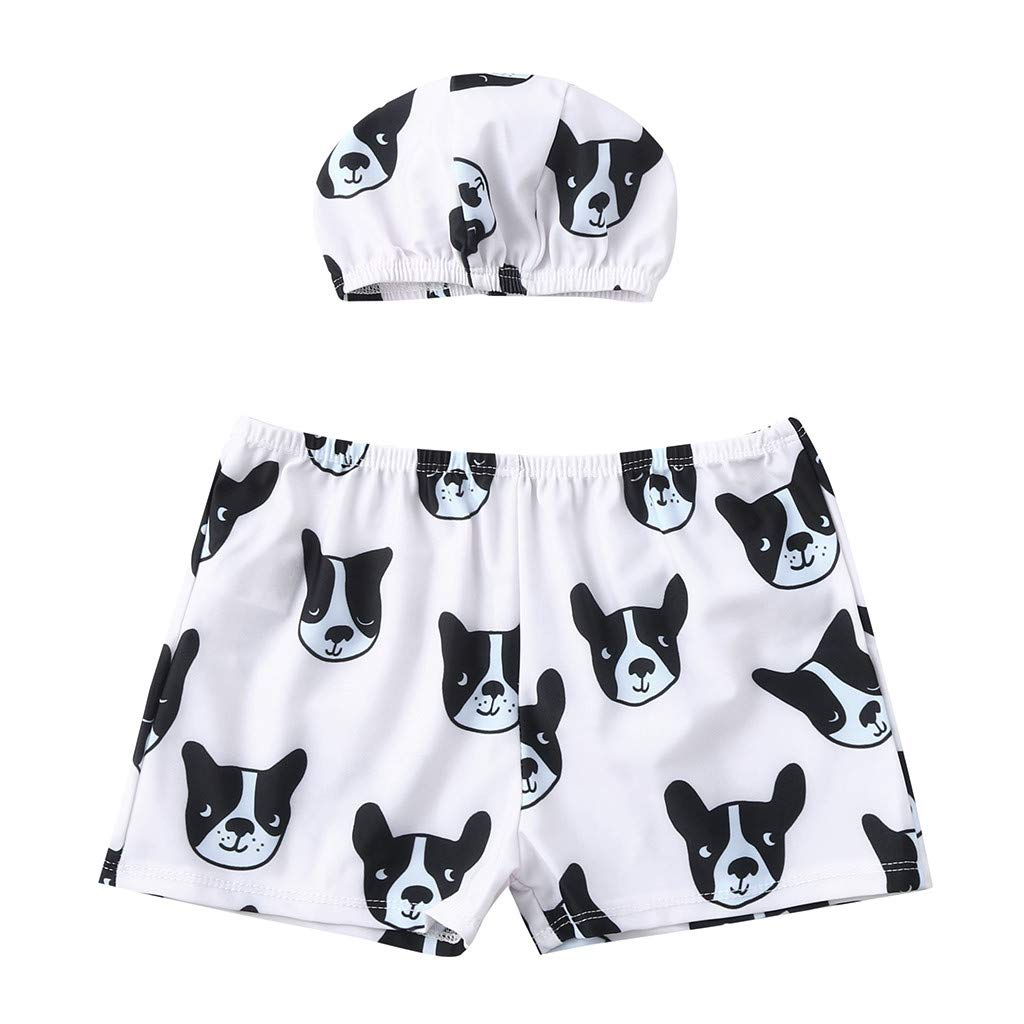 NUWFOR Toddler Baby Kids Boys Dog Swimwear Swimsuit Beach Pants Clothes Hat Outfit(Black,18-24 Months)