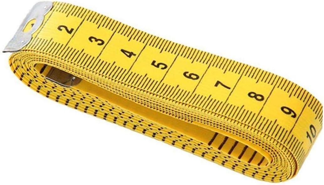 Heall 3 Metros de Cinta Suave medición de la Bolsa Cinta de medición por Costura a Medida de Tela Cuerpo Médico Medición Amarillo