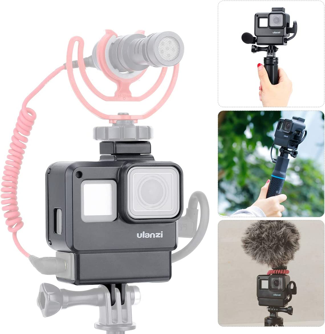 ULANZI V2 Multifunctional Vlogging Case w Cold Shoe Mount for Microphone LED Video Light,Wire Connectable Frame Housing Shell Mount Cage for Gopro Hero 7 6 5 Action Camera Video Vlog Creator Setup