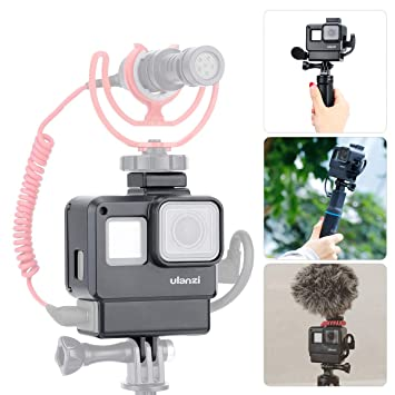 ULANZI V2 Multifunctional Vlogging Case w Cold Shoe Mount for Microphone  LED Video Light,Wire Connectable Frame Housing Shell Cage Compatible w  Gopro