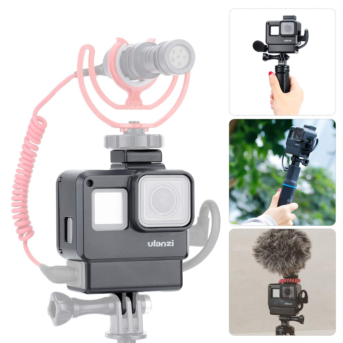 ULANZI V2 Multifunctional Vlogging Case w Cold Shoe Mount for Microphone LED Video Light,Wire Connectable Frame Housing Shell Cage Compatible w Gopro Hero 7 6 5 Action Camera Video Vlog Creator Setup