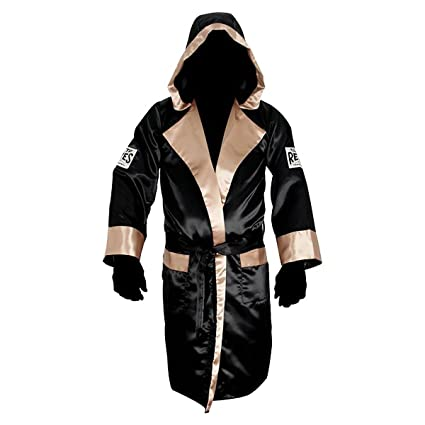 846309f9ad Amazon.com   Cleto Reyes Satin Boxing Robe with Hood - Black Gold ...