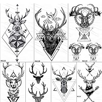 yyyDL Geométricos Elk Astas Temporal Triángulo Tatuajes Flecha ...