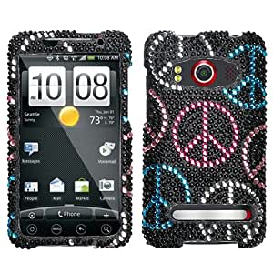 Black Pink Silver Blue Colorful Peace Full Diamond Bling Snap on Design Hard Case Faceplate for Htc Evo 4g