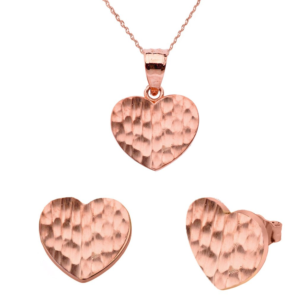 Fine 10k Rose Gold Love Hammered Heart Charm Pendant Necklace and Earring Set, 18''