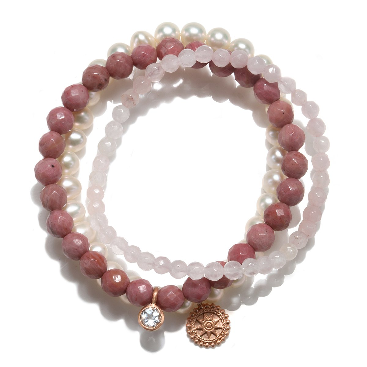 Satya Jewelry Womens Rhodonite Rose Gold Mandala Stretch Bracelet Set, One Size