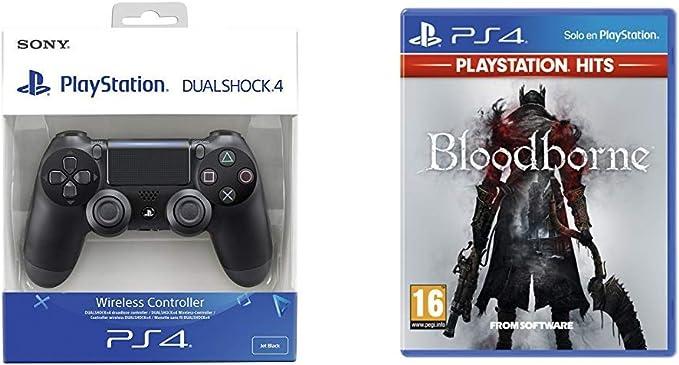 Sony - Dualshock 4 V2 Mando Inalámbrico, Color Negro V2 (PS4) + Bloodborne Hits: Amazon.es: Videojuegos