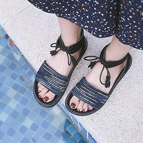 Antideslizantes Sandalias pie Bohemias señora del Playa del del Verano b Dedo la Zapatos Bohemia YMFIE de cómodos la de OXqxgdOw