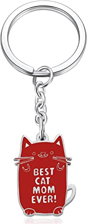 Best Cat Mom Ever Keychain for Women Kitties Lovers Birthday Gifts for Lady Cute Cat Lover Keyrings Valentine's Day Presents Key Chain with Red Cat