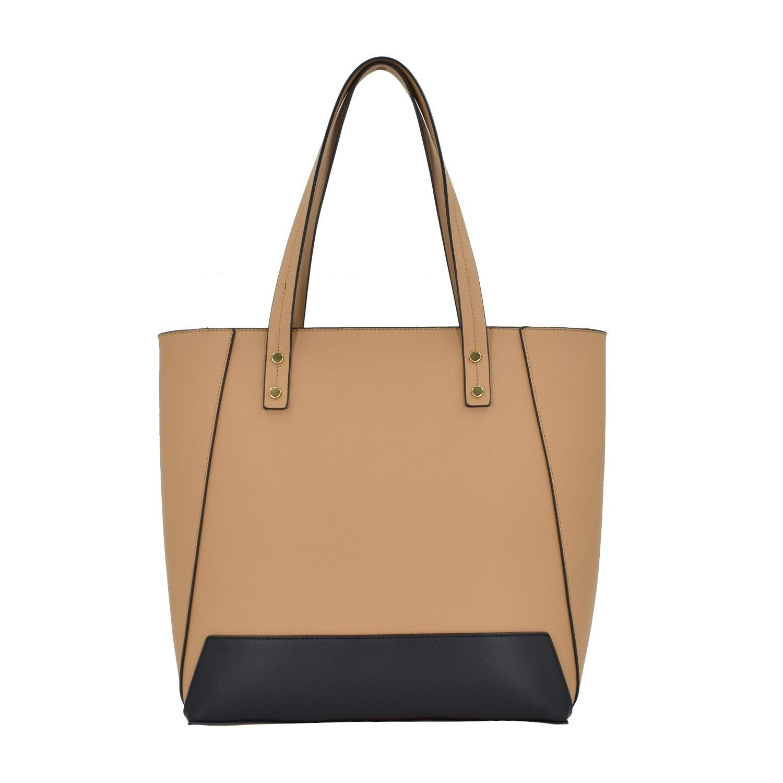 ESA Womens Tote Shoulder Handbags PU Leather Satchel Top handle Purse with Top Zip (Tan mix)