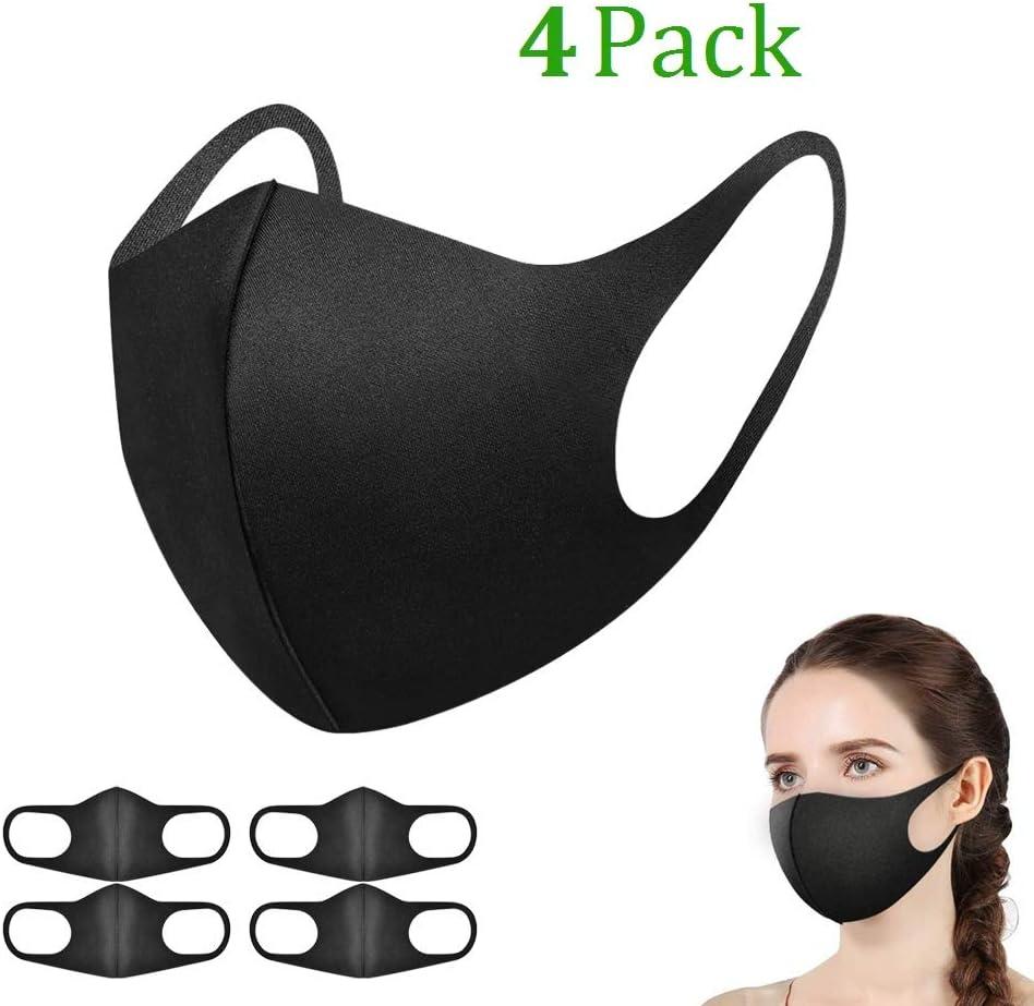 Máscaras Bucales Unisex de 4 Piezas, Zorar Máscaras de Boca Máscaras Faciales Antipolvo Ajustables, Mascarilla Reutilizable y Lavable (Negro)