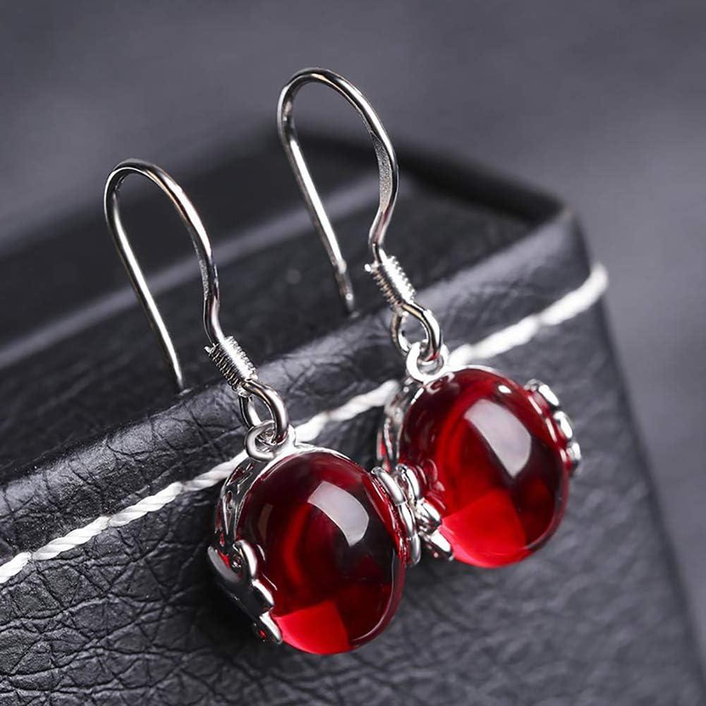 FXXUK Ladies 'Dangle Pierced Wire Pendientes Vintage Ruby Esmeralda Piedras Preciosas 925 joyería de Plata esterlina declaración para Mujeres niñas,Red