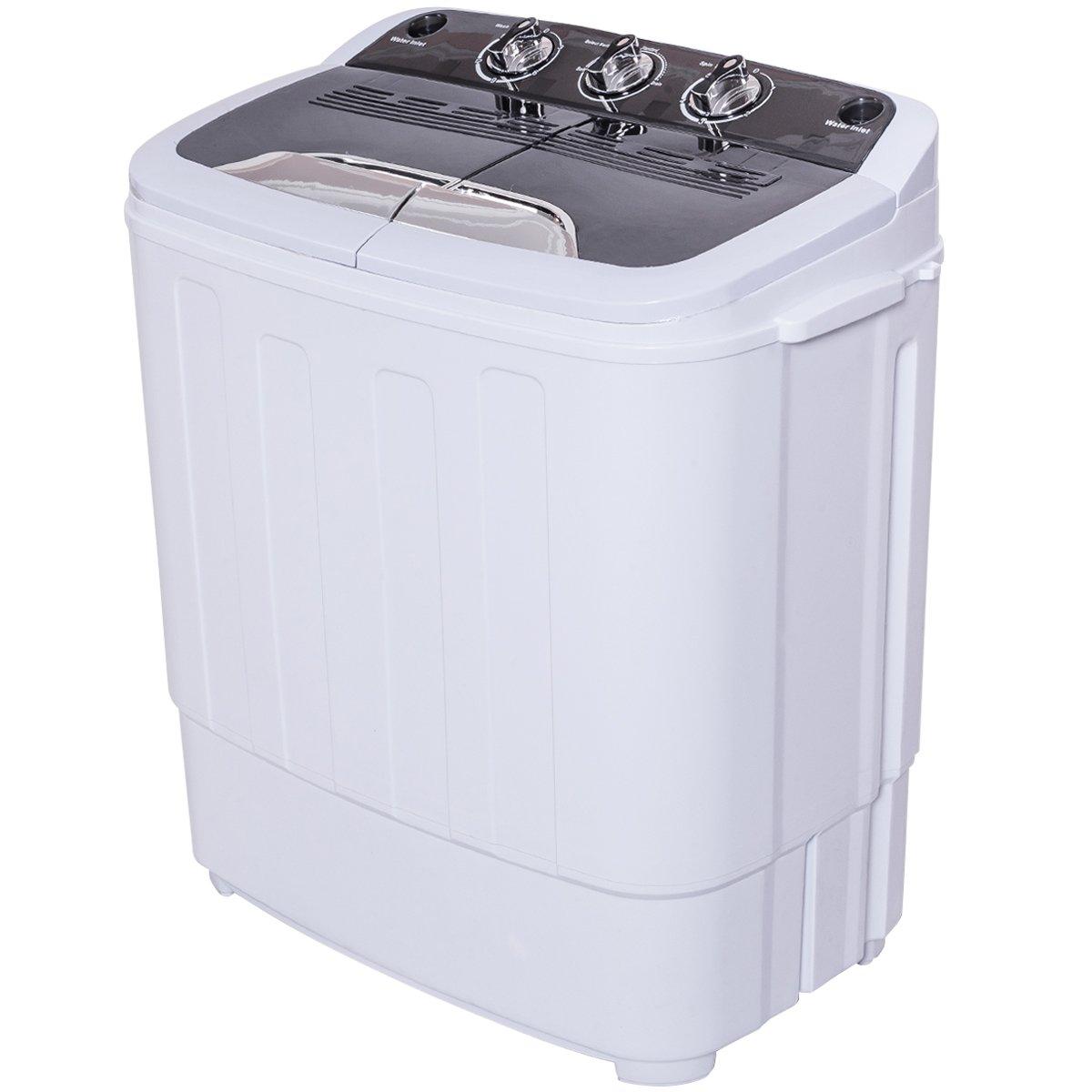 Giantex Portable Compact 13 Lbs Mini Twin Tub Washing Machine Washer Spin Dryer (Black&White)