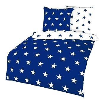 Kaeppel Biber Stern Wende Bettwäsche Sterne Stars Blau Weiß