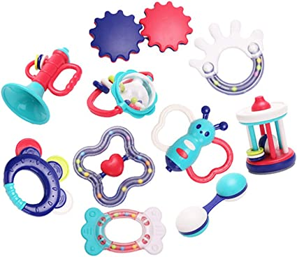 6x Baby Rattles Teether Early Educational Toys for 3-12 Month Infant Newborn