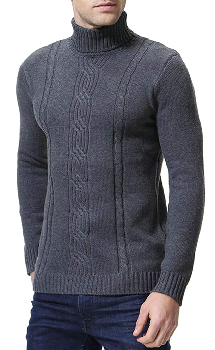 Ptyhk RG Mens Simple Slim High-Neck Solid Pullover Sweater Casual Sweater