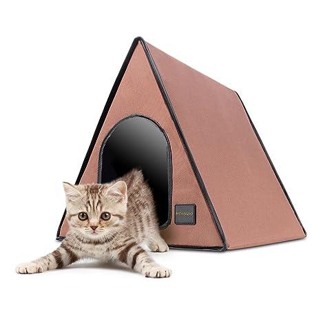 Mindkoo Casa para Mascota A-forma Habitación para Perros y Gatos con Almohadilla Calentador Amovible
