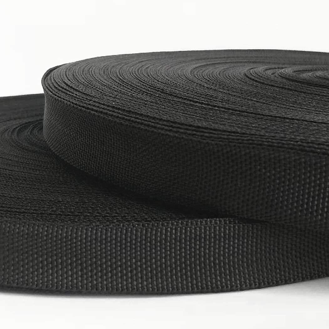 ZAIONE 0.8 x 10 Yards Black Lightweight Polypropylene PP Webbing Backpack Belt Sewing Strap Poly Strapping for Outdoor DIY Gear Repair Pet Collars