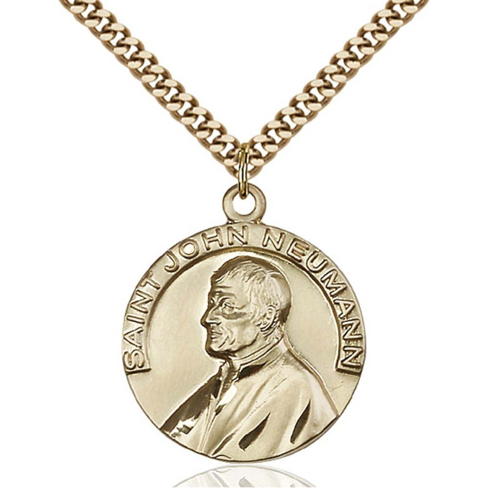 Gold Filled St. John Neumann Pendant 1 x 7/8 inches with Heavy Curb Chain by Bonyak Jewelry Saint Medal Collection