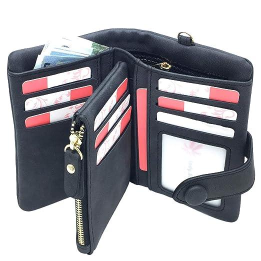 13de2e8ce7e8 Ladies Wallet RFID Blocking Women Leather Wristlet Clutch Card Coin Purse  Bifold