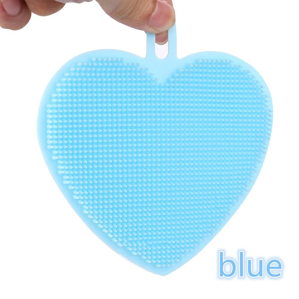 Blue Bomdes Useful 1X Heart Shape Silicone Cleaning Brush Mop Bowl Dish Wash Kitchen Cleaning Tool