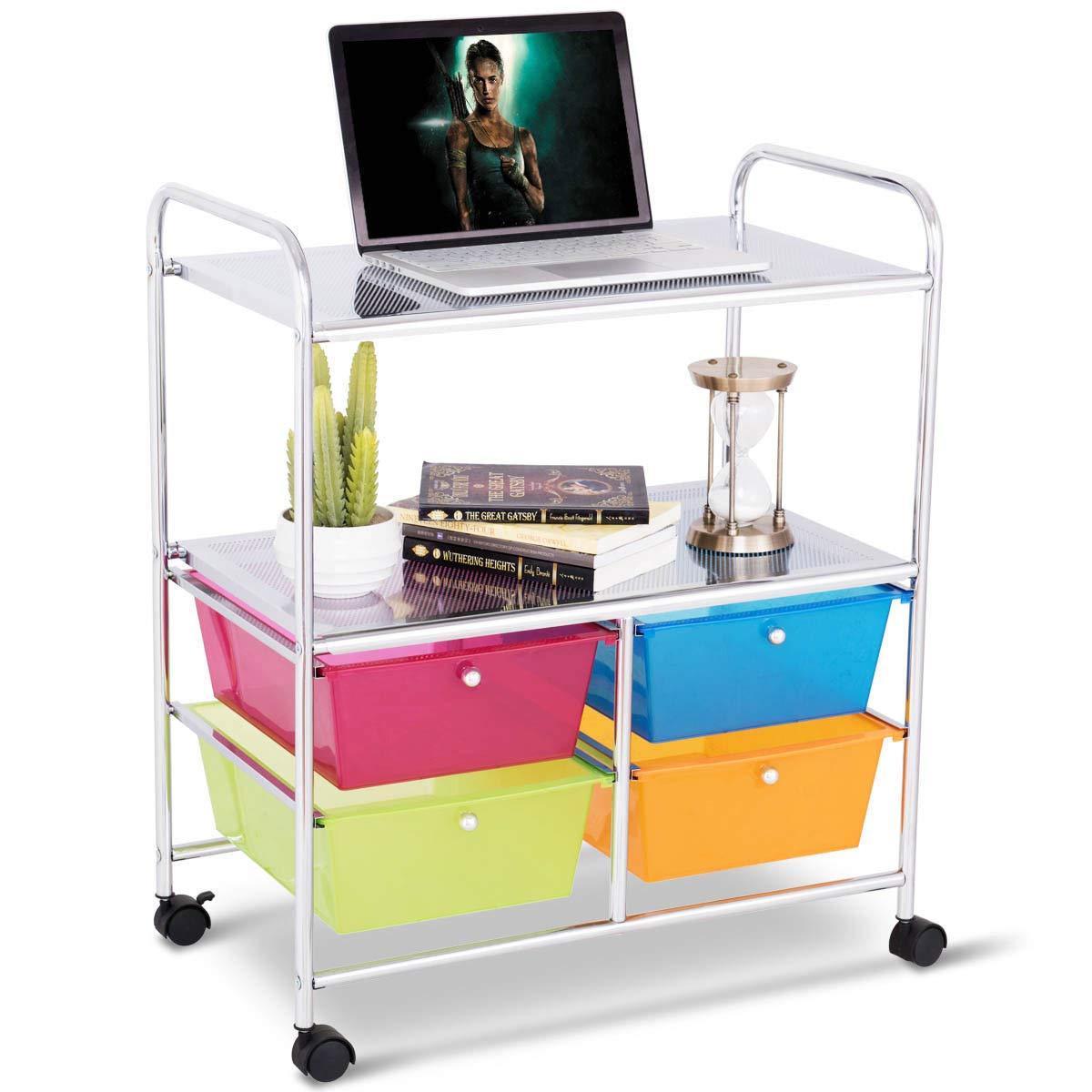 GHP 25.0''x14.5''x29.5'' Steel & Plastic 2 Metal Shelves & 4 Drawers Rolling Storage Cart