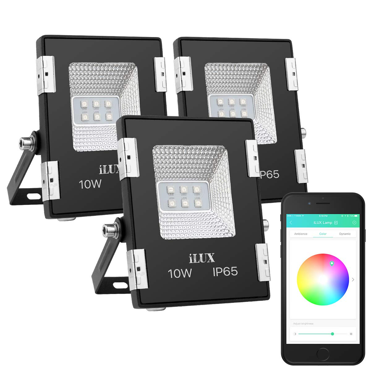 LE iLUX Smart LED Flood Light, 10W RGB Waterproof Dimmable LED Lights, Bluetooth Smart Phone or Remote Controlled, Works with Android and iOS, Pack of 3 Including 1 Remote Control