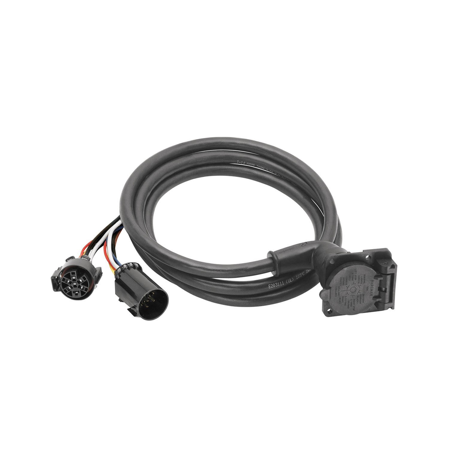 Bargman 51-97-410 7-Way 90° Fifth Wheel Adapter Harness w/ 9' Cable-Dodge, Ford, GM, Toyota