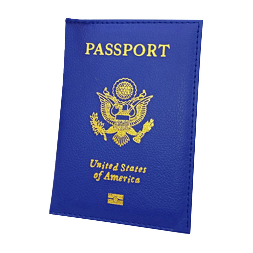 Fashion Faux Leather Travel USA Passport ID Card Holder Cover Case Organizer - Blue