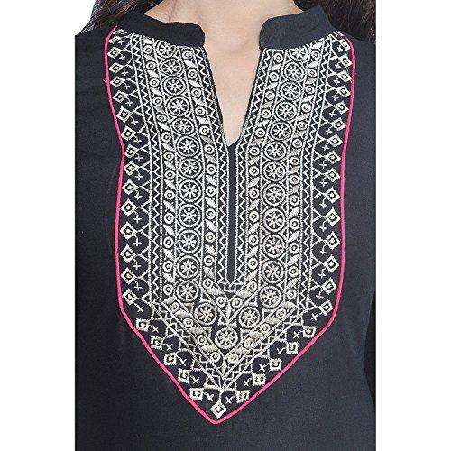 Chichi Indian Women Kurta Kurti 3/4 Sleeve Medium Size Plain with Jaipuri Embroidered Straight Black-Cream Top by CHI (Image #3)