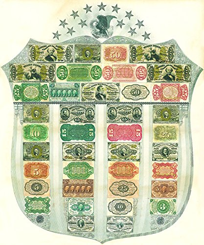 Fractional Currency Shield. Replica Bank Notes of the American Civil War Era
