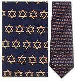 Mens 100% Silk Blue Star of David Tie Necktie