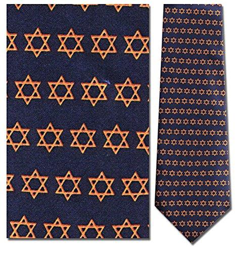 Mens 100% Silk Blue Star of David Tie (David Necktie)