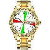ダイヤモンドゴールドメッキウォッチルミナスラグジュアリー防水ユニークなゴールド腕時計 367. 船の無線室の時計