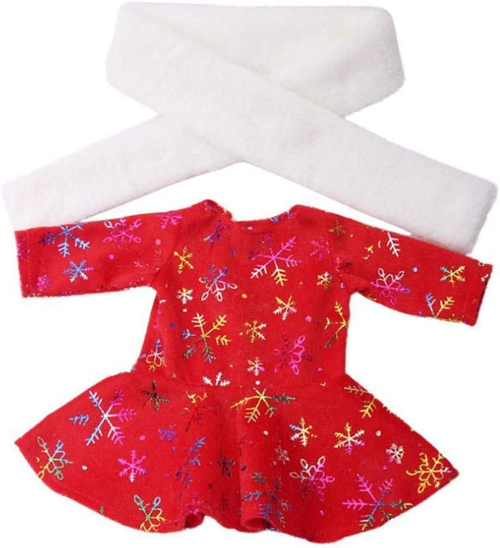 Christmas 18 Inch Girl Doll Long Sleeve Dress with Scarf New Year Red Cute Dress