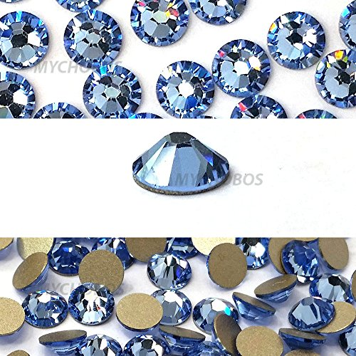 LIGHT SAPPHIRE (211) blue Swarovski NEW 2088 XIRIUS Rose 34ss 6.4mm flatback No-Hotfix rhinestones ss34 18 pcs (1/8 gross) from Mychobos (Crystal-Wholesale) ()