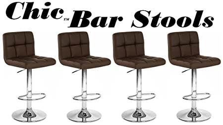 Chic Modern Adjustable Synthetic Leather Swivel Bar Stools Brown