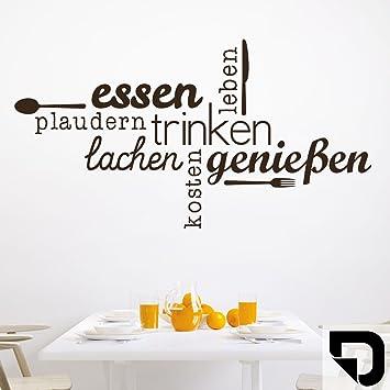 DESIGNSCAPE® Wandtattoo Essen Trinken Genießen | Wandtattoo Küche Esszimmer  100 x 54 cm (Breite x Höhe) schwarz DW803463-M-F4