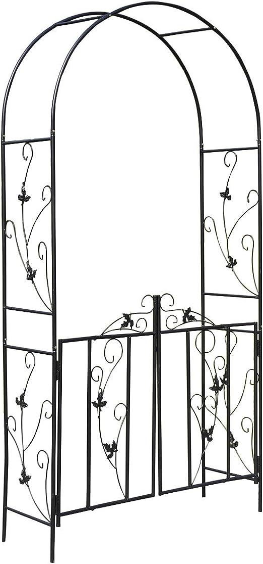 Arco para rosales, pérgola para enredaderas, arco de metal, enrejado para rosas, columna, jardín, puerta enrejada para jardín, altura aprox. 214 cm: Amazon.es: Jardín