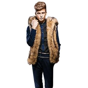 amlaiw orld Invierno Hombre Mode pelo abrigo Tiempo Libre Warm Mode piel sintética Chaleco sin mangas con capucha chaqueta, marrón: Amazon.es: Deportes y ...