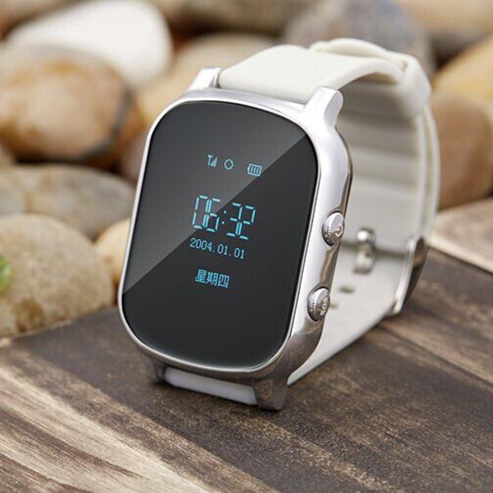 Hangang Reloj GPS para Niños Anti-perdida SOS Localizador de Ubicación de Llamadas Monitor Remoto Podómetro Funciones Control de Los Padres por IOS Aplicación de Android (Plateado)