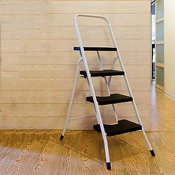 Paso 4 Plegables El Hierro Escalera,multifunción Antideslizante Portátil Escaleras De Mano Para El Hogar Cocina Oficina Almacén-negro: Amazon.es: Bricolaje y herramientas
