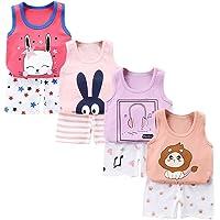 XM-Amigo 8 Pack de niños Niñas Bebés Niñas Chaleco sin Mangas Camisetas Interiores Camisetas sin Mangas Suaves Edad (8…