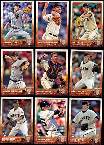 (San Francisco Giants 2015 Topps MLB Baseball Regular Issue Complete Mint 33 Card Team Set with 2014 World Series Highlights, Buster Posey, Madison Bumgarner Plus)