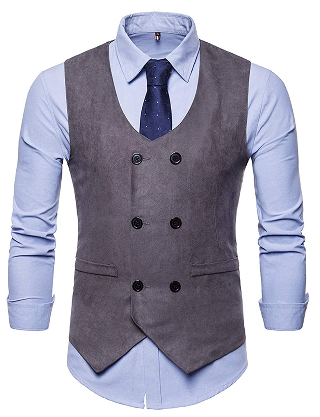 HUPOO Mens Slim V Neck Double Breasted Sleeveless Business Faux Suede Vests Waistcoats
