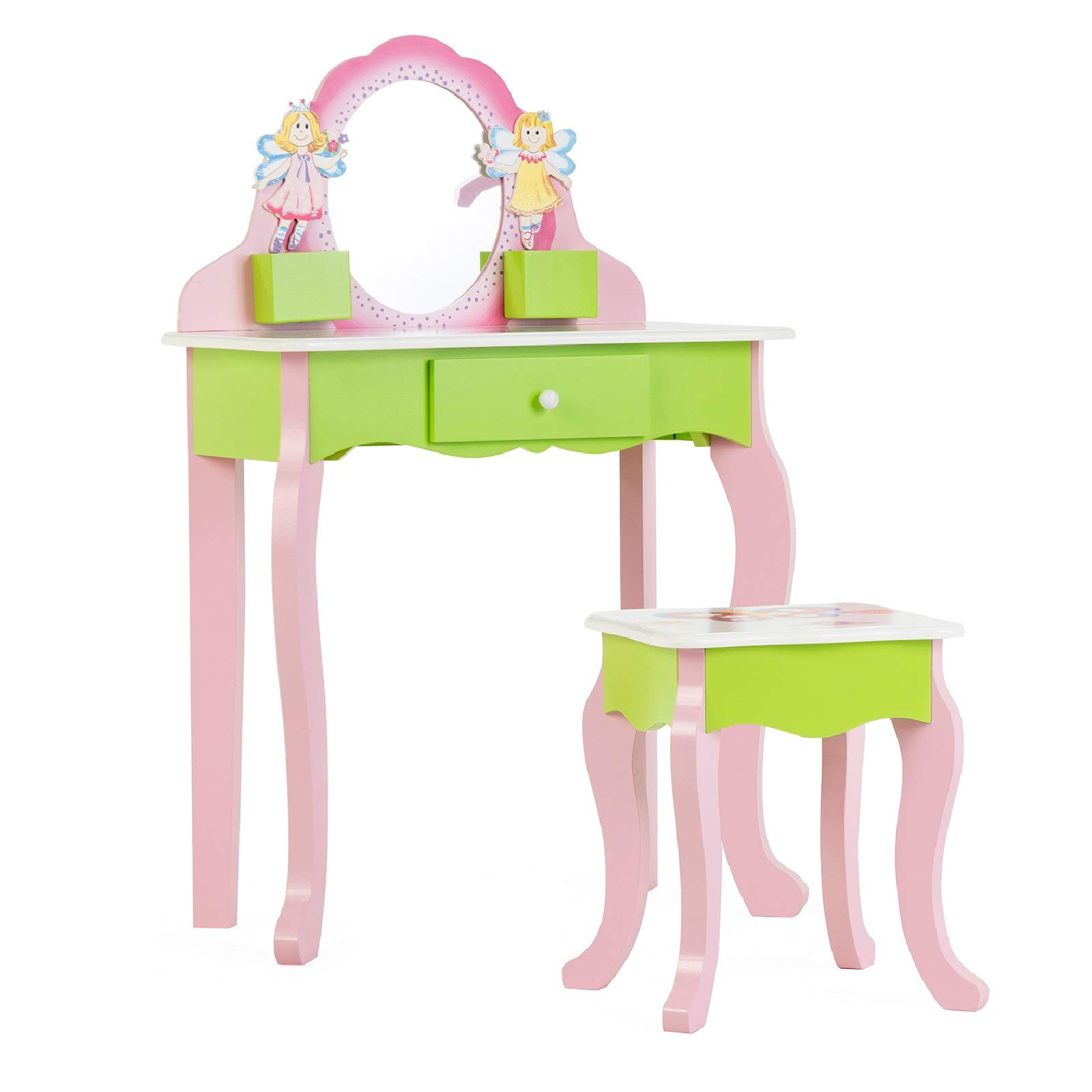 mecor Kids Vanity Set w/Flower Mirror, Little Girls Makeup Table with Stool,Non-Toxic Hand Painted Children Vanity Desk Pink&Green by mecor