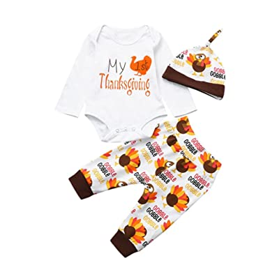 'My 1st Thanksgiving' Print Infant Baby Boy Girl Thanksgiving Outfits Turkey Clothes Set Romper+ Pants+ Hat